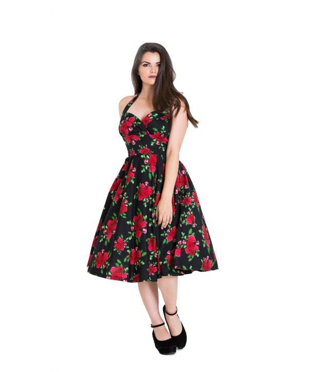 Robe Cannes 50s Hell Bunny Noir Rouge