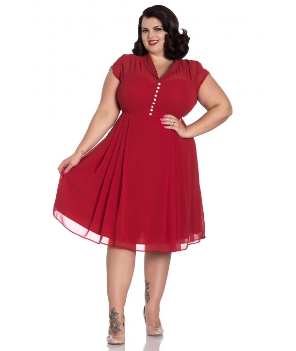 Robe Grande Taille Rock Hell Bunny Paige Rouge