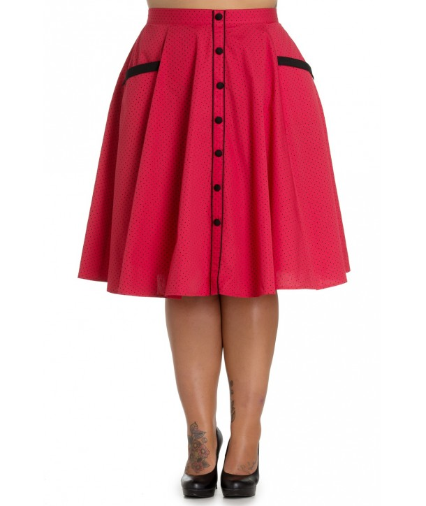 Jupe Grande Taille Hell Bunny Martie 50s Rouge