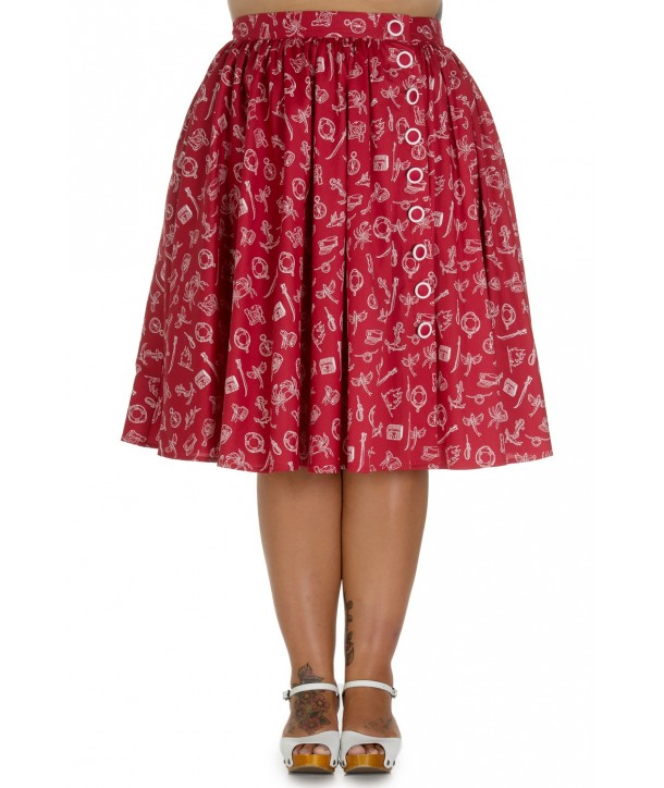 Jupe Grande Taille Hell Bunny Marin 50s Rouge