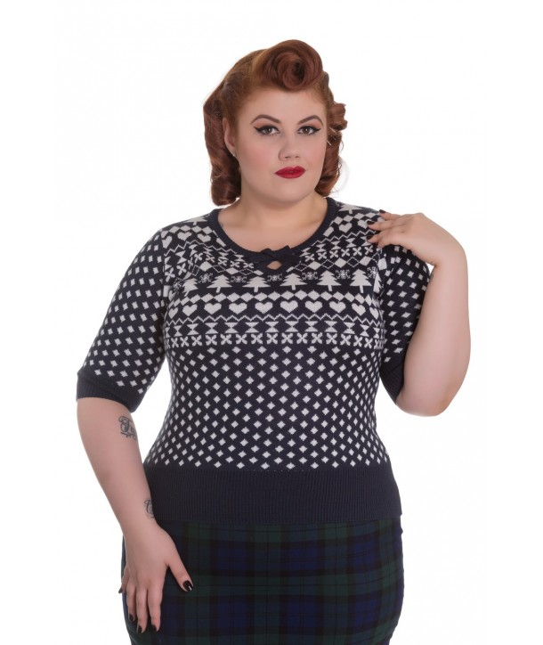 Pull Grande Taille Hell Bunny Katherine Bleu marine