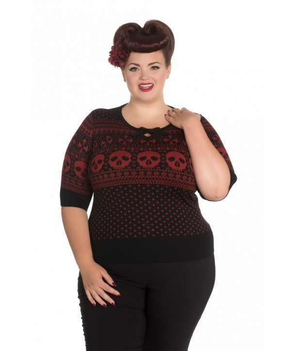 Pull Grande Taille Hell Bunny Yule Noir Rouge