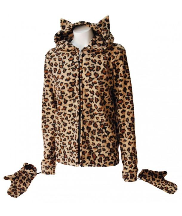 Sweat Shirt Veste Darkside Fur Natural Leopard Kitty Hood