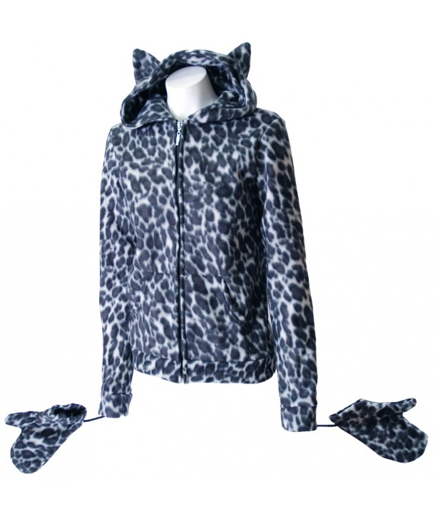 Sweat Shirt Veste Fur Grey Leopard Kitty Gris