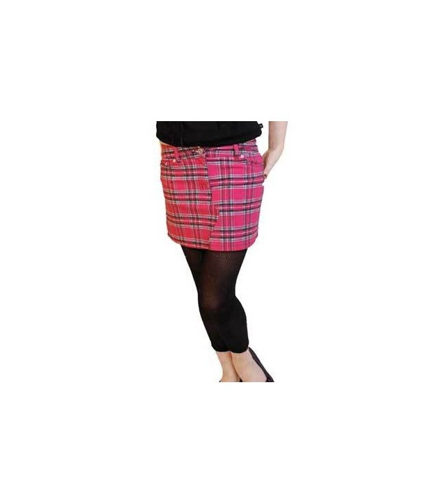 Mini Jupe Darkside Pink Tartan Denim