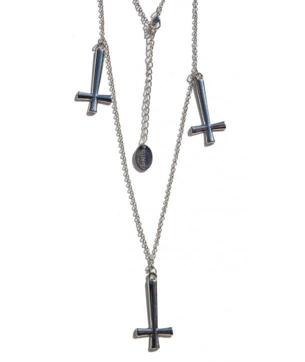 Collier Darkside Triple Silver Inverted Cross