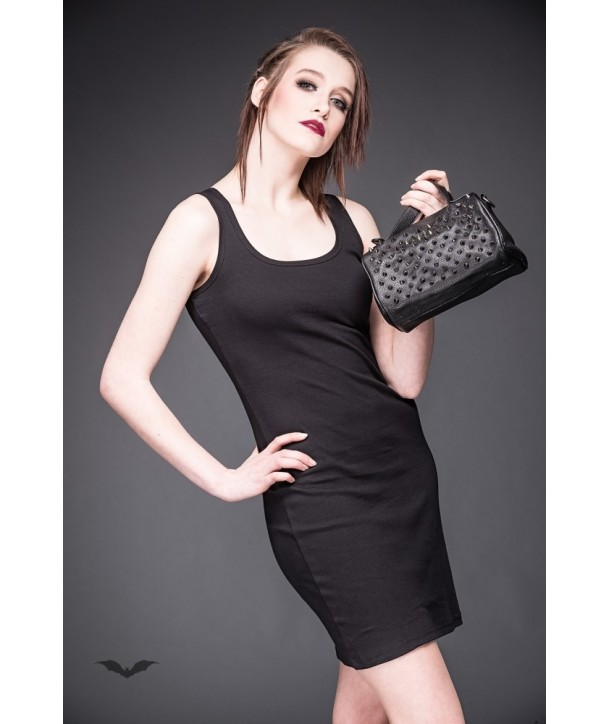 Sac Queen Of Darkness Gothique Small Bag With Many Black And Silver