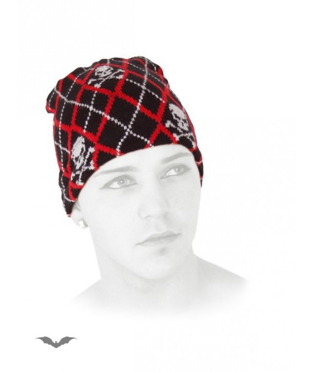 Casquette Queen Of Darkness Gothique Black & Red Plaid Beanie With Skulls