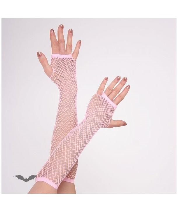 Gants Queen Of Darkness Gothique Net Gloves Long Light Pink