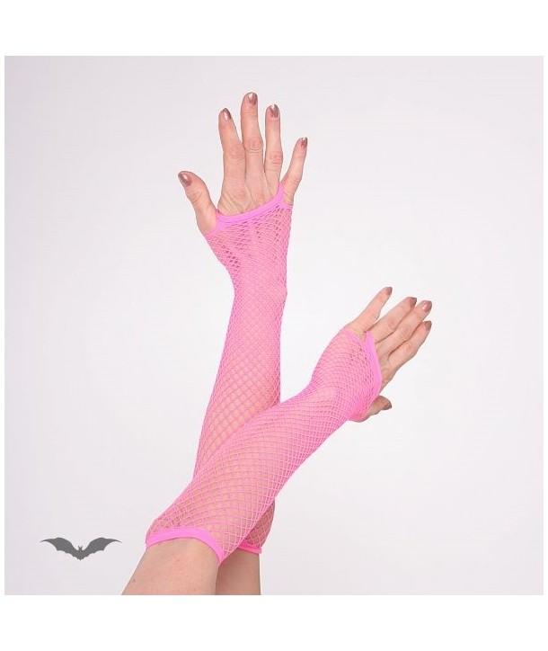 Gants Queen Of Darkness Gothique Net Gloves Long Hot Pink