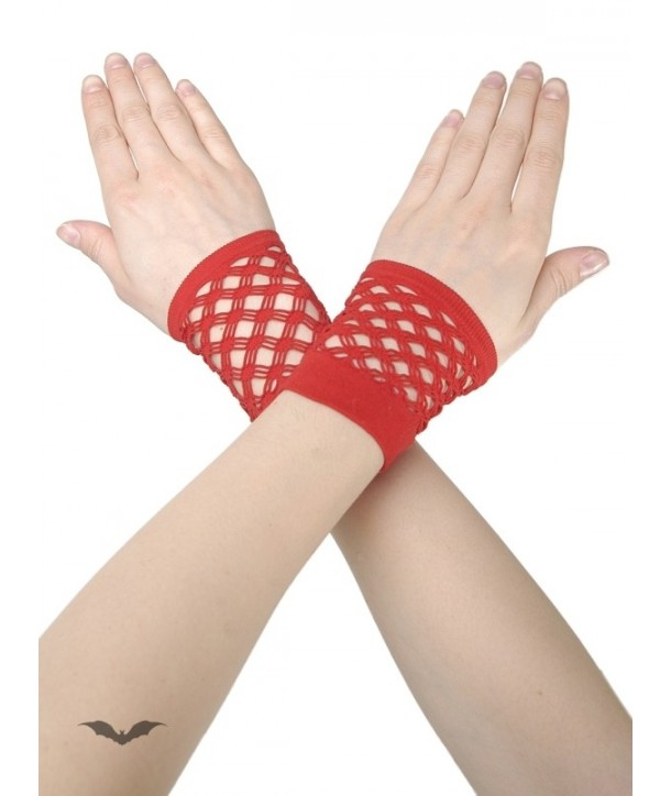 Gants Queen Of Darkness Gothique Red Net Gloves Without Fingers
