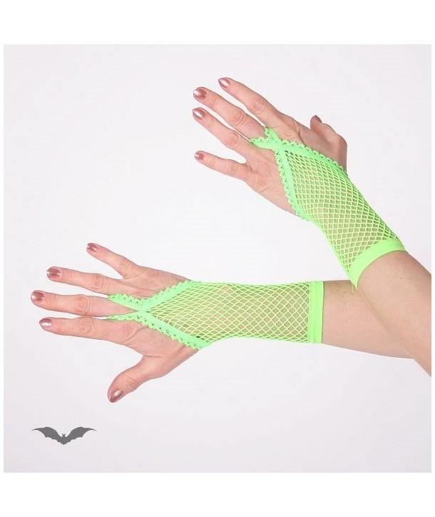 Gants Queen Of Darkness Gothique Green Net Gloves. Loop For Finger. Short