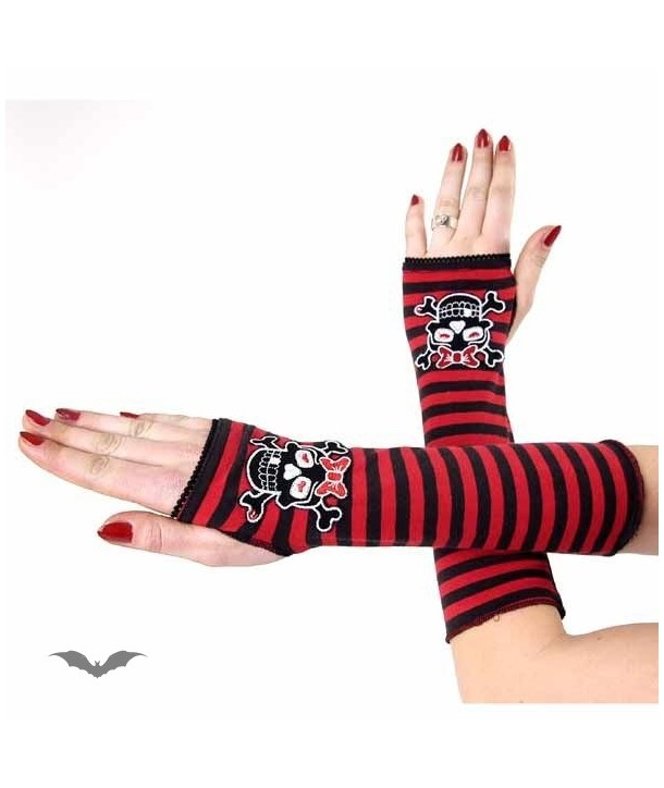 Gants Queen Of Darkness Gothique Arm Warmers. Black/Red Striped