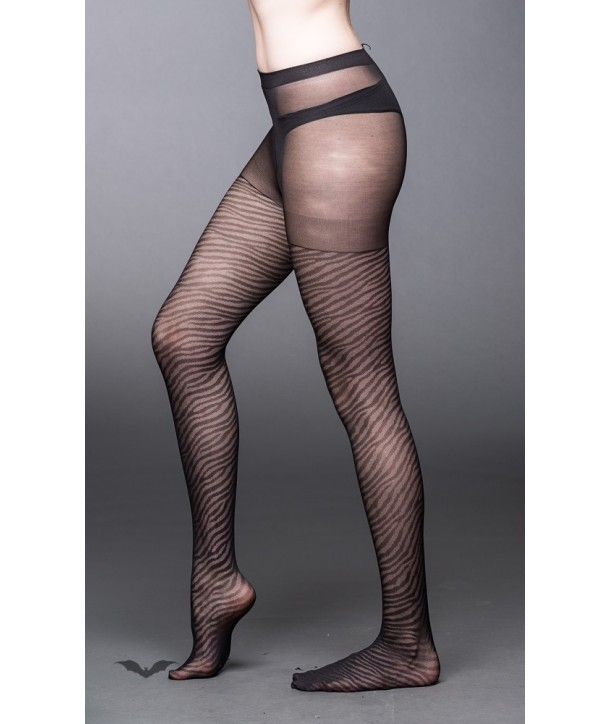 Chaussettes Queen Of Darkness Gothique Zebra-Look Stockings