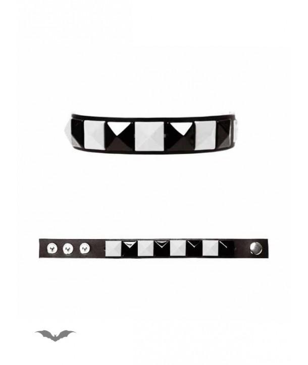 Bracelet Queen Of Darkness Gothique Black/White Bracelet With 1 Line