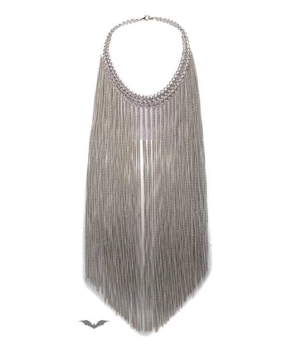 Collier Queen Of Darkness Gothique Silver Necklace With Long Chains