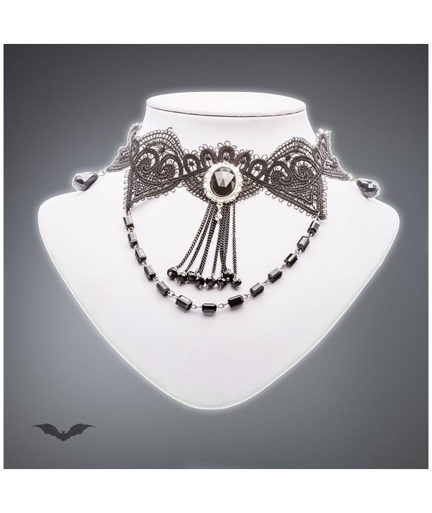 Collier Queen Of Darkness Gothique Necklace Made Of Lace