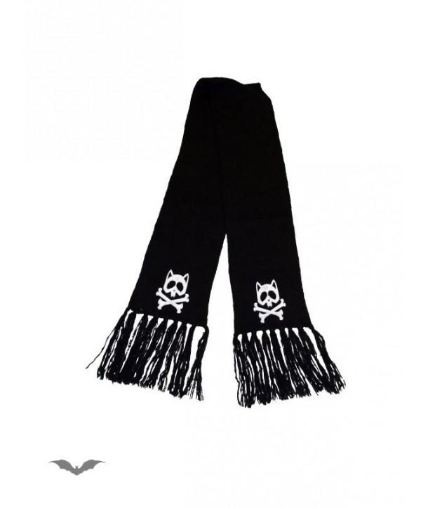 Echarpe Queen Of Darkness Gothique Scarf With Cat Skulls & X-Bone