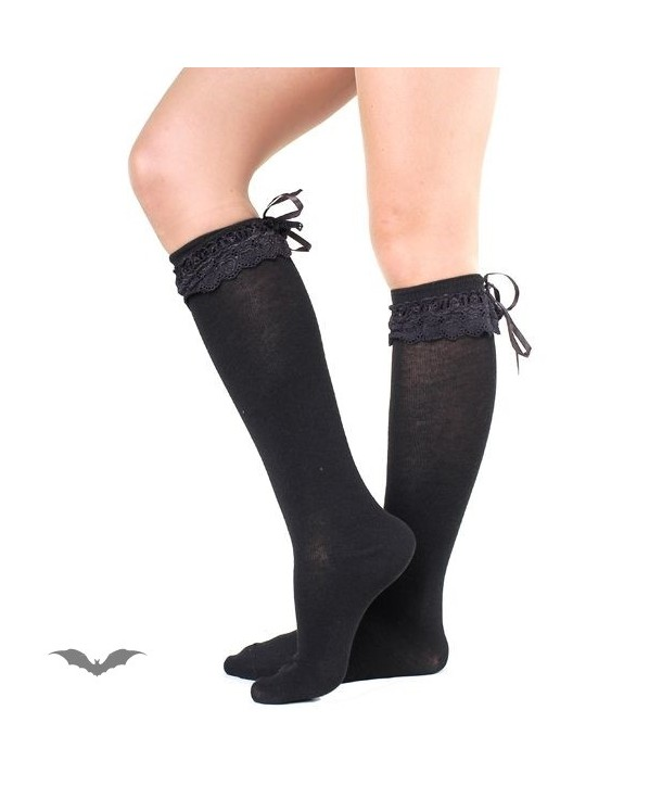 Chaussettes Queen Of Darkness Gothique Sheer Black Socks With Black Lace