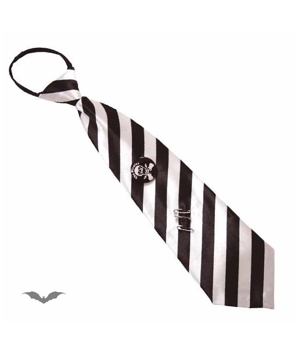 Cravatte Queen Of Darkness Gothique Tie Stripes White / Black