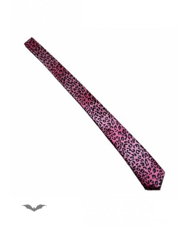 Cravatte Queen Of Darkness Gothique Leopard Print Tie In Pink