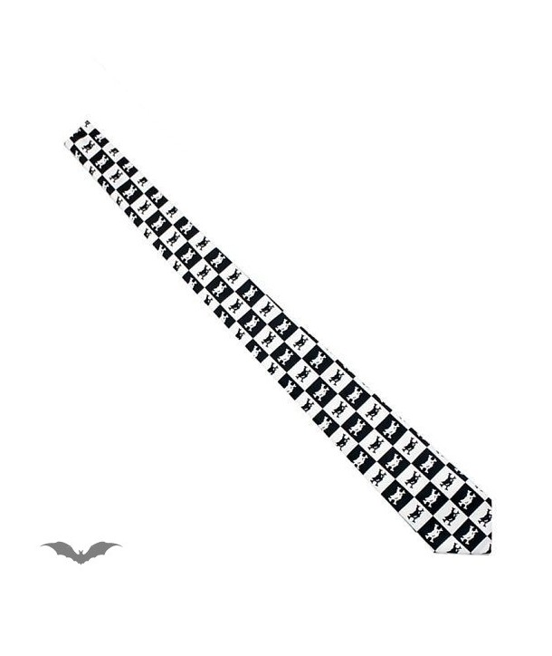 Cravatte Queen Of Darkness Gothique Black / White Chequered Tie. Catbones.
