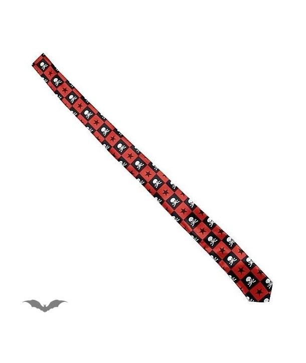 Cravatte Queen Of Darkness Gothique Thin Black / Red Chequered Tie. Skulls &