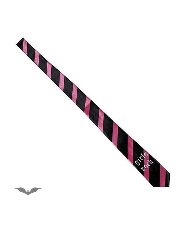 Cravatte Queen Of Darkness Gothique Black / Pink Stripes. Girls Rock.