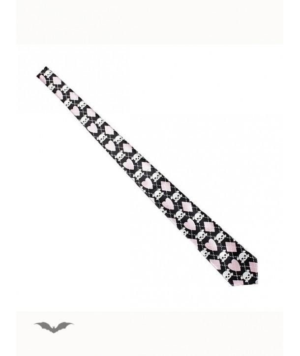 Cravatte Queen Of Darkness Gothique Tie With Skulls & Pink Hearts & Diamonds