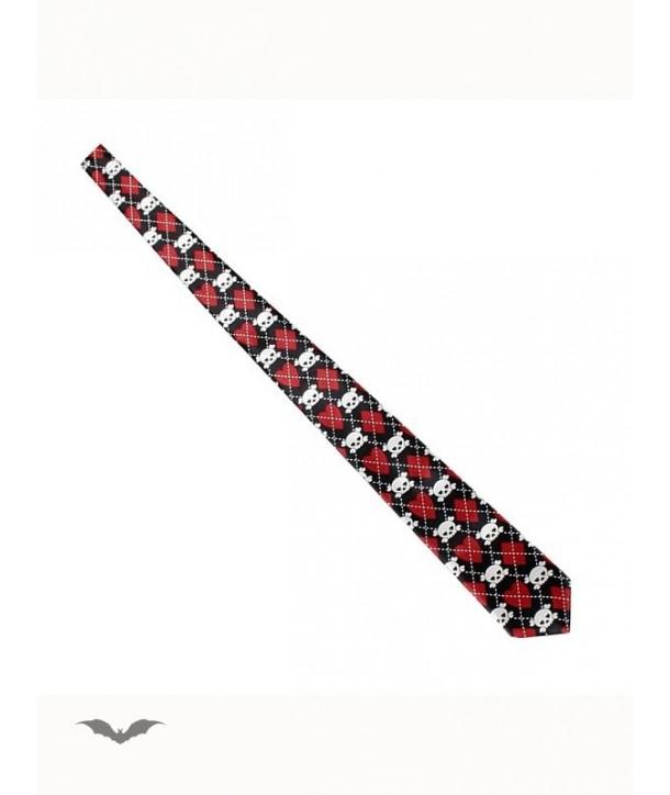 Cravatte Queen Of Darkness Gothique Tie With Hearts, Diamonds And Skulls