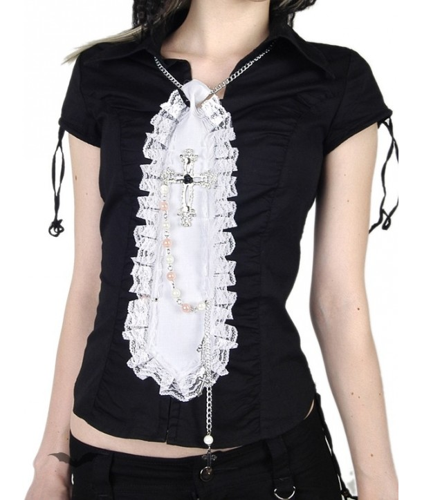 Cravatte Queen Of Darkness Gothique White Lace Tie With Chains And Crosses