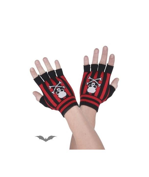 Gants Queen Of Darkness Gothique Black/Red Plaid Fingerless Gloves