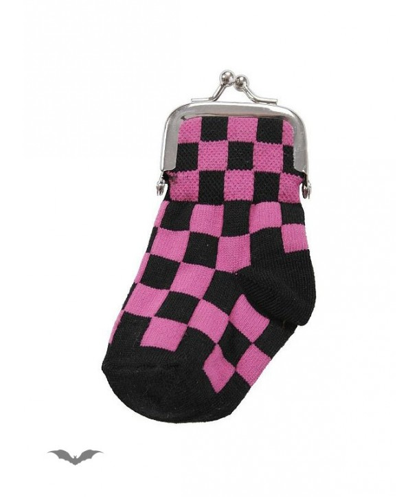 Porte-Monnaie Queen Of Darkness Gothique Black/Pink Chequered Sock Purse
