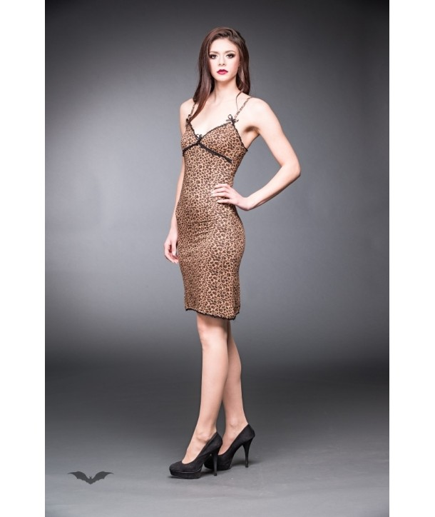 Robe Queen Of Darkness Gothique Long Leopard Print Dress With Black Lace
