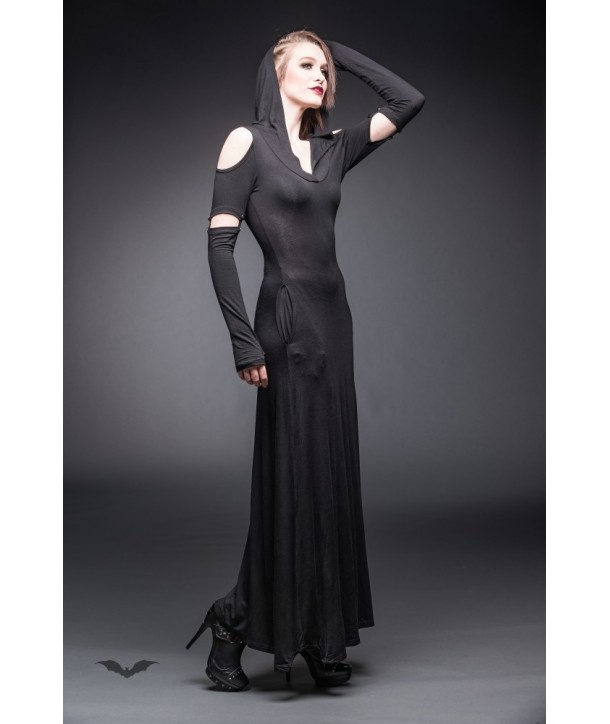 Robe Queen Of Darkness Gothique Long Hooded Dress With Cut Out Shoulders