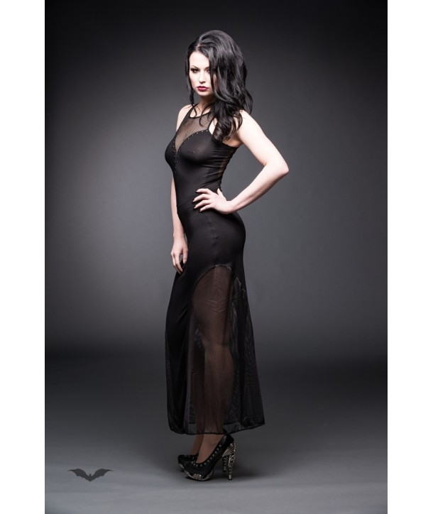 Robe Queen Of Darkness Gothique Long Net Dress With Plunging Neckline