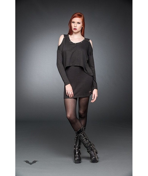 Robe Queen Of Darkness Gothique Long Sleeve Short Dress With Cut-Out Sho