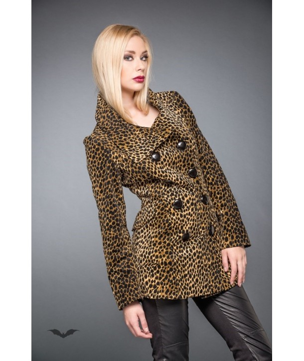 Veste Queen Of Darkness Gothique Double-Breasted Leopard Pattern Jacket