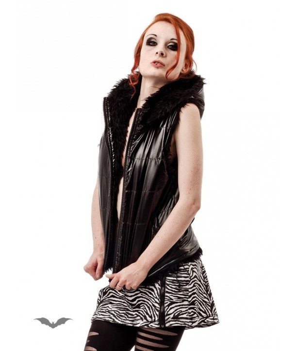 Veste Queen Of Darkness Gothique Reversible Hooded Vest With Furry And Sh