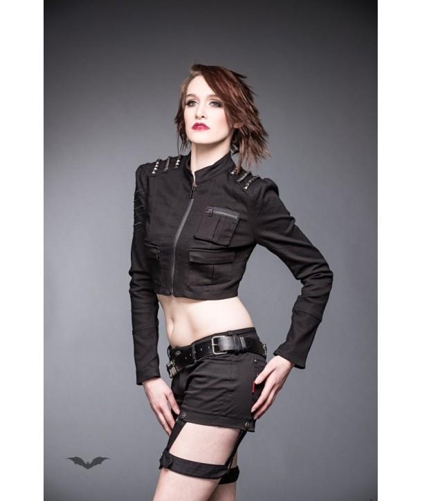 Veste Queen Of Darkness Gothique Short Jeans Jacket With Studded Shoulder