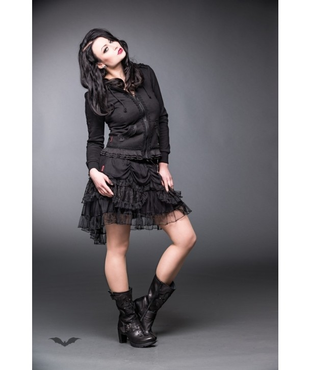 Veste Queen Of Darkness Gothique Hoodie With Lace