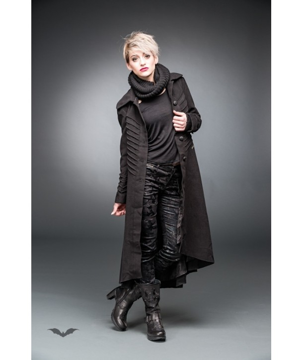 Manteau Queen Of Darkness Gothique Long Coat With Decorative Stitching
