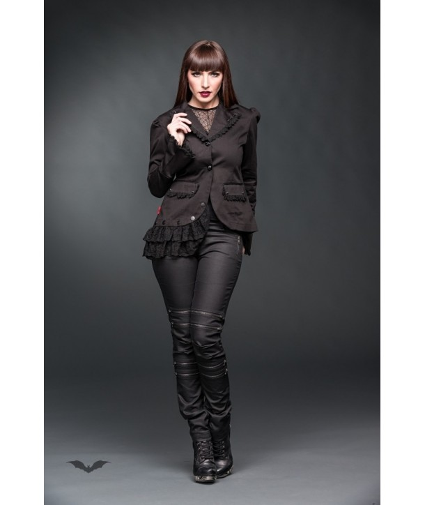 Veste Queen Of Darkness Gothique Asymmetrical Jacket Decorated With Lace