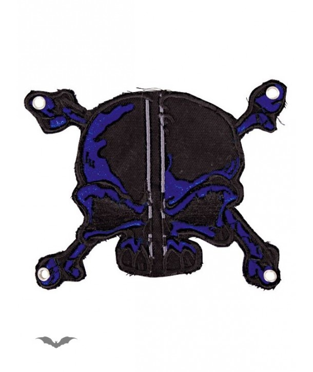 Patches Queen Of Darkness Gothique Patch: Black And Blue Skull & Bones