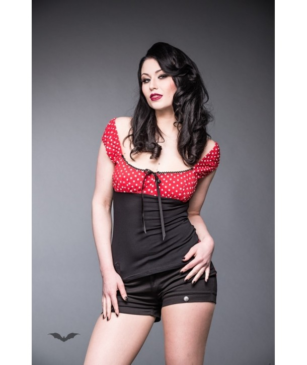 Top Queen Of Darkness Gothique Black/Red Top With Puff Sleeves