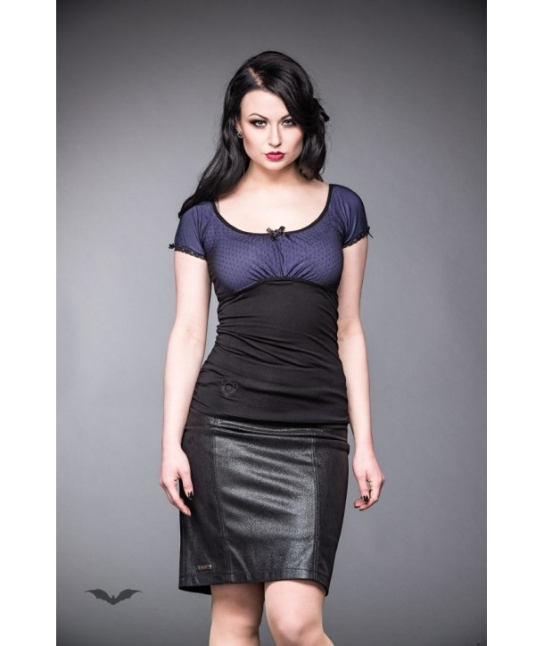 Top Queen Of Darkness Gothique Lace Top With Purple Lining