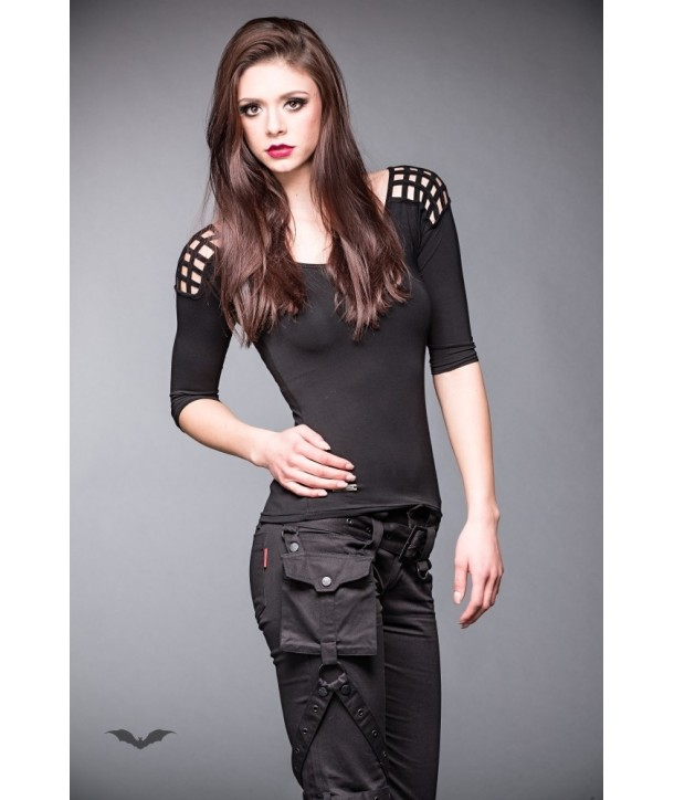 Top Queen Of Darkness Gothique 3/4 Sleeve Top With Cut-Outs On Shoulder