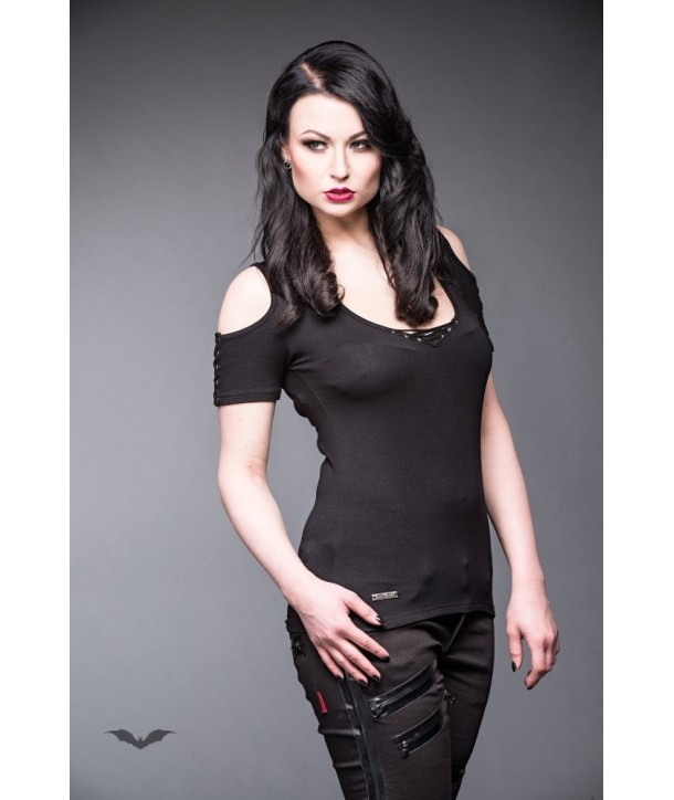 Top Queen Of Darkness Gothique Shirt With Lacings And Highlight On Back
