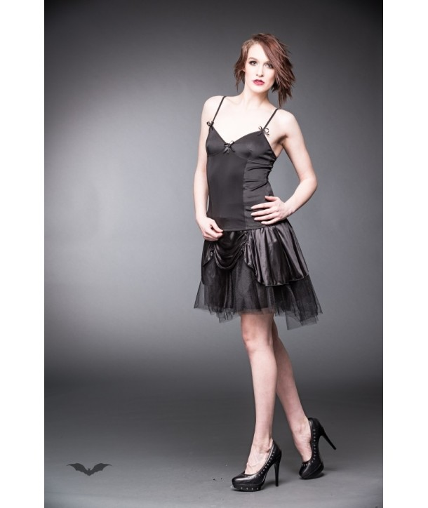 Top Queen Of Darkness Gothique Black Top With Ribbons And Cross