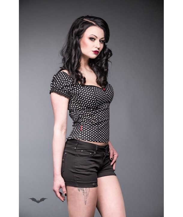 Top Queen Of Darkness Gothique Black Corsage Top With White Dots